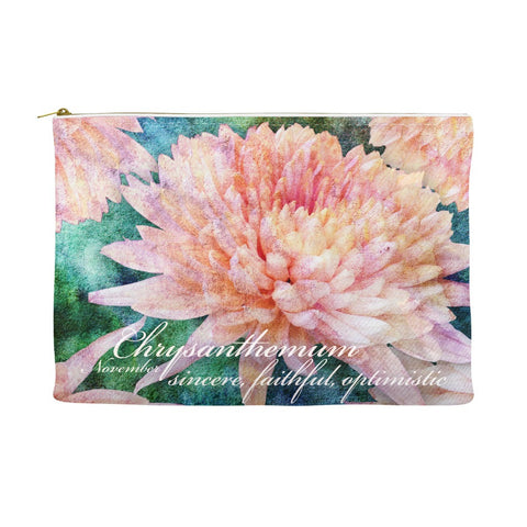 Birthday Blossom Cosmetic Pouch - November, Crysanthemum