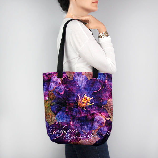 Birthday Blossom Tote Bag - July Larkspur