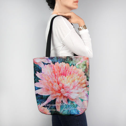 Birthday Blossom Tote Bag - November Chrysanthemum