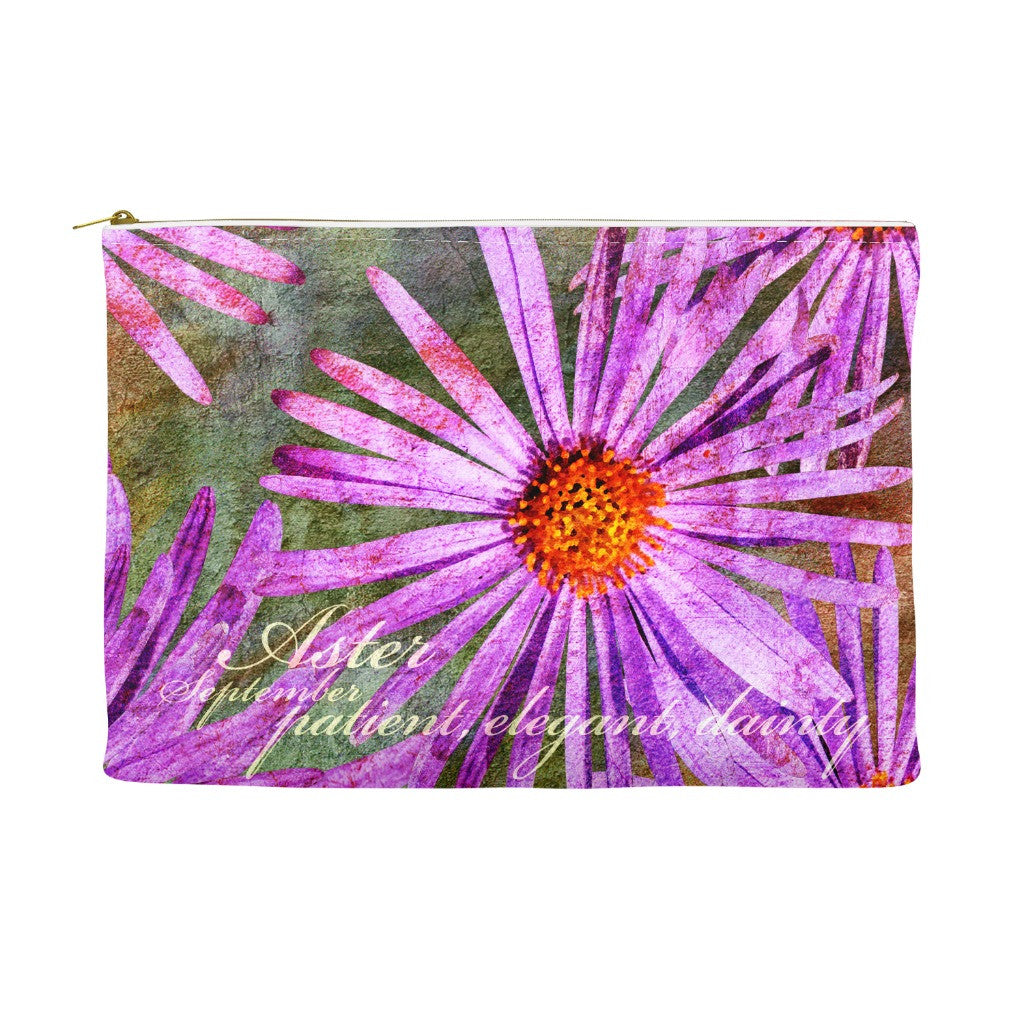 Birthday Blossom Cosmetic Pouch September Aster Birthdayblossoms