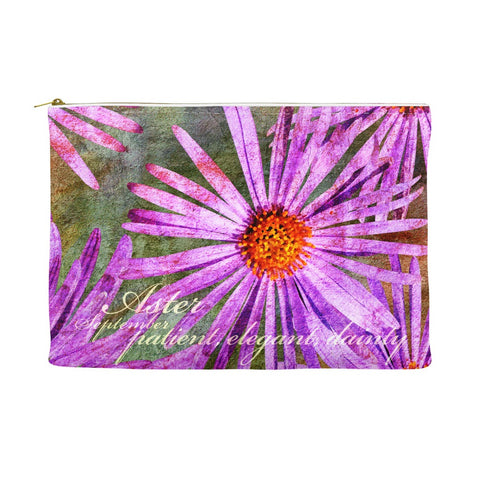 Birthday Blossom Cosmetic Pouch - September, Aster