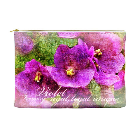 Birthday Blossom Cosmetic Pouch - February, Violet