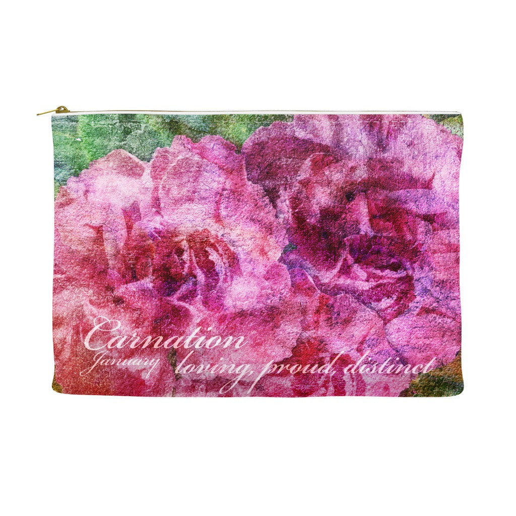 Birthday Blossom Cosmetic Pouch - January, Carnation
