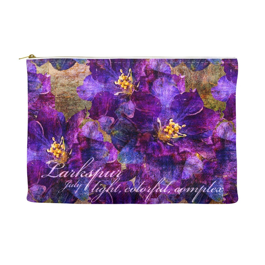 Birthday Blossom Cosmetic Pouch - July, Larkspur