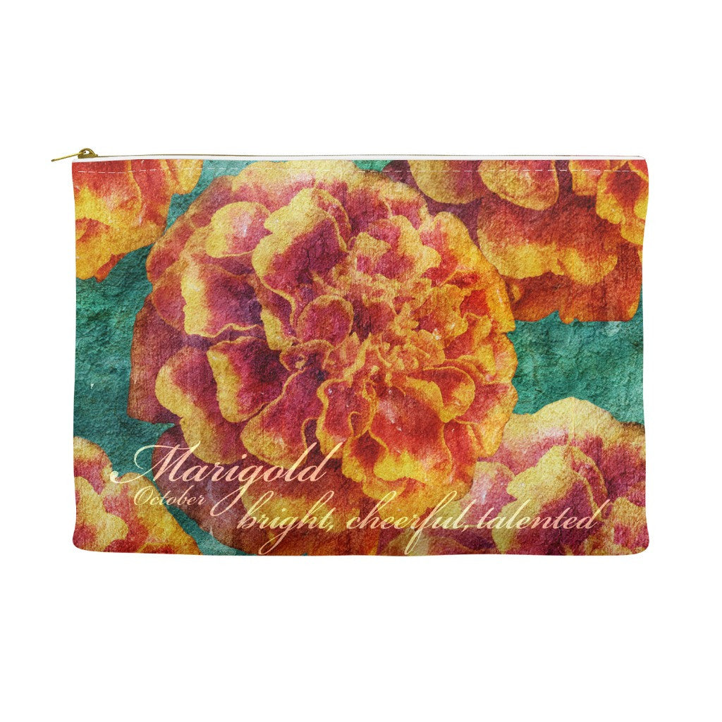 Birthday Blossom Cosmetic Pouch - October, Marigold