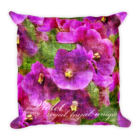 Birthday Blossom Accent Pillow - February, Violet