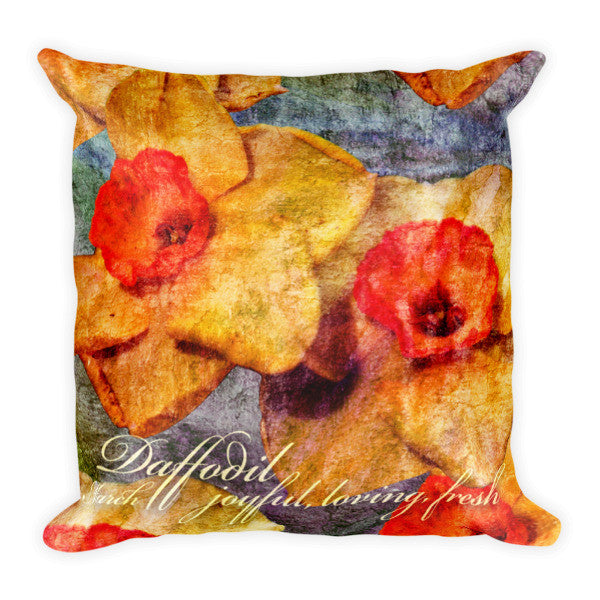 Birthday Blossom Accent Pillow - March, Daffodil