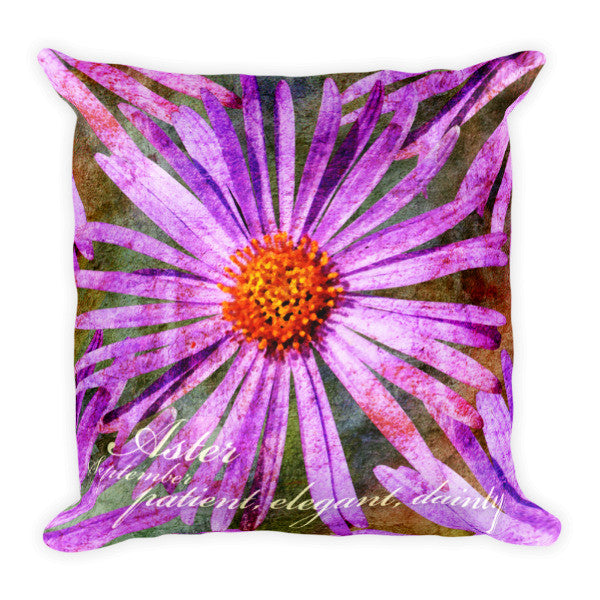 Birthday Blossom Accent Pillow - September, Aster