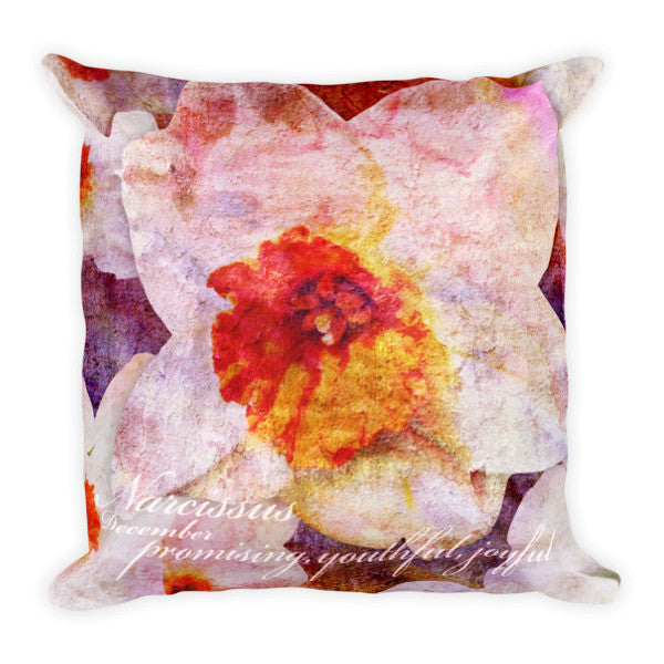 Birthday Blossom Accent Pillow - December, Narcissus