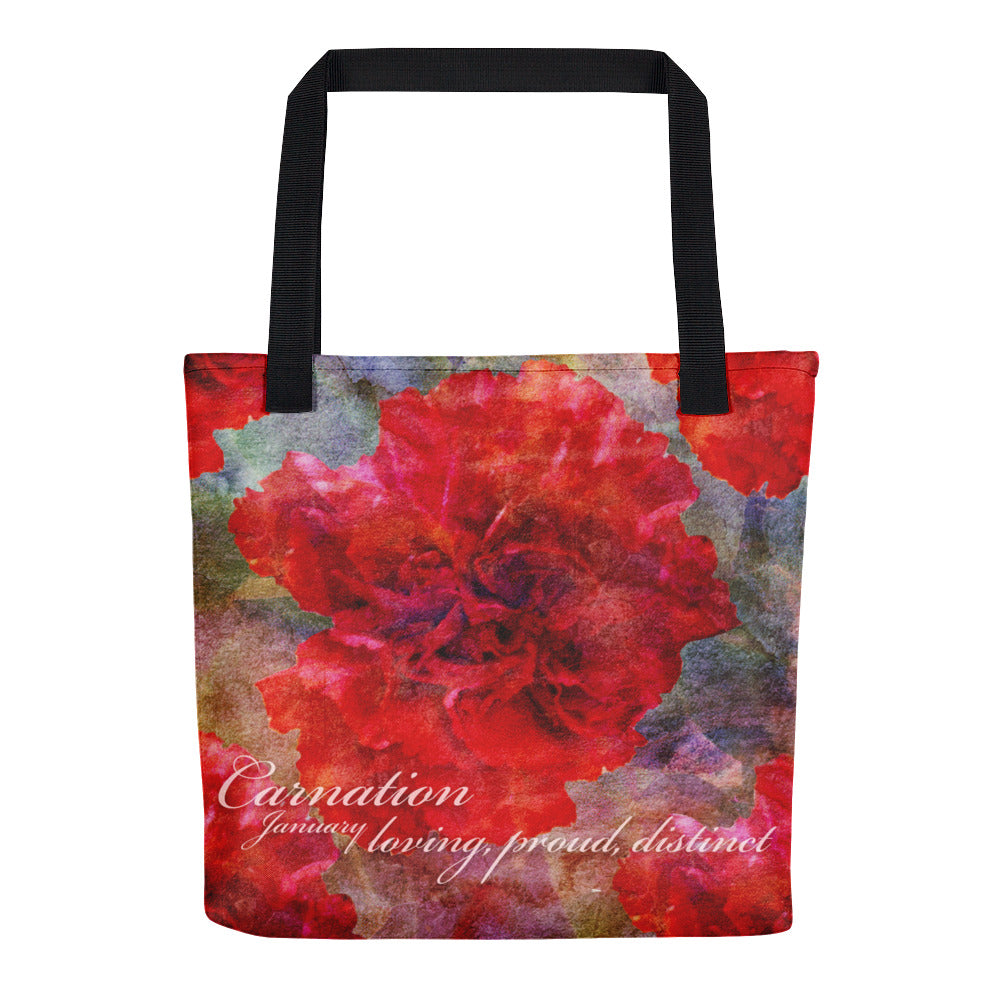 Birthday Blossom Tote Bag - January Carnation