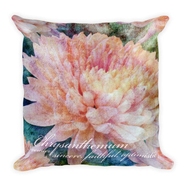 Birthday Blossom Accent Pillow - November, Chrysanthemum