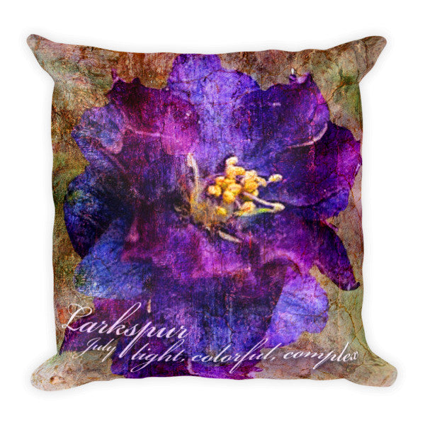 Birthday Blossom Accent Pillow - July, Larkspur