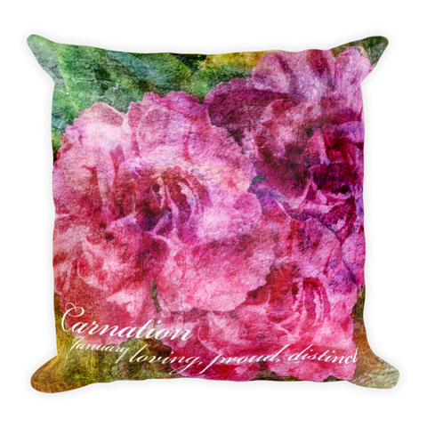 Birthday Blossom Accent Pillow - January, Carnation