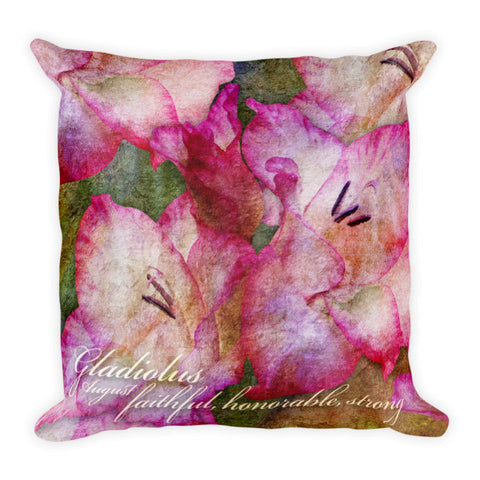 Birthday Blossom Accent Pillow - August, Gladiolus