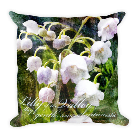 Birthday Blossom Accent Pillow - May, Lily of the Valley