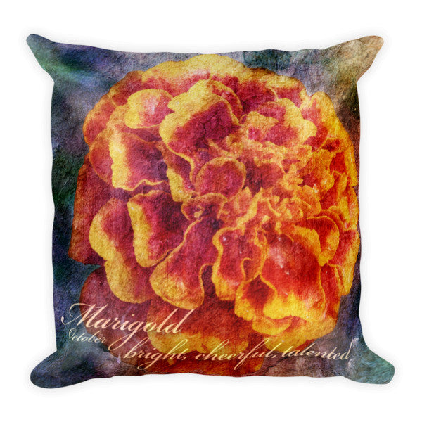Birthday Blossom Accent Pillow - October, Marigold