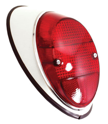Classic VW Type 1 Taillight Assembly Red Painted Metal Empi 98-2055-B