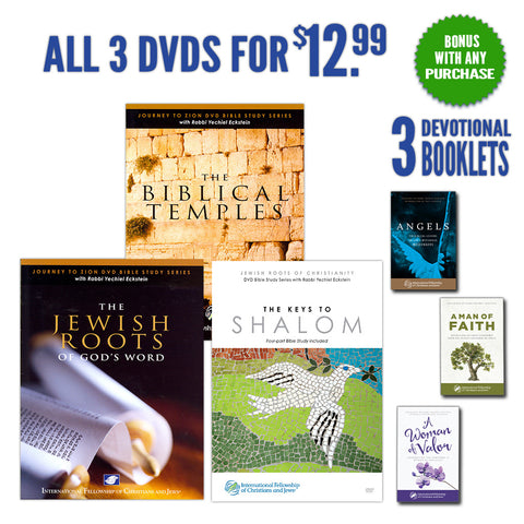 Jewish Roots, Keys to Shalom, and Biblical Temples with BONUS: Three Inspirational Booklets for You!