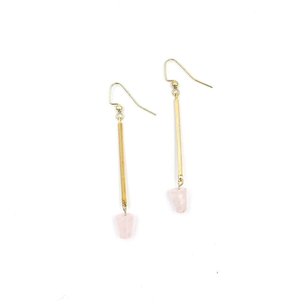 Chastina Designs - Rose Quartz Bar Drop Earrings - KINDRED-the boheme collective