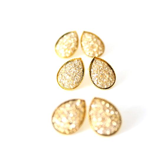 BORCIK JEWELRY - Gold Teardrop Druzy Studs - KINDRED-the boheme collective