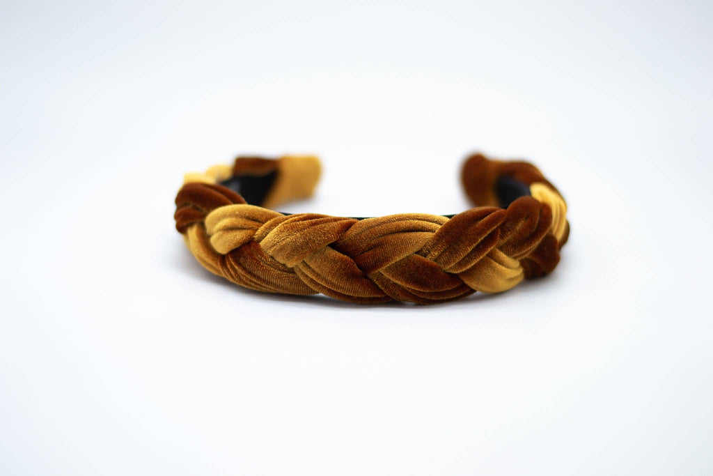 Velvet Braided Headband - Amber