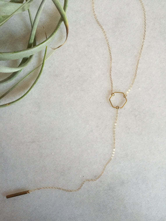 tumble jewelry - Hexagon Lariat Necklace - KINDRED-the boheme collective