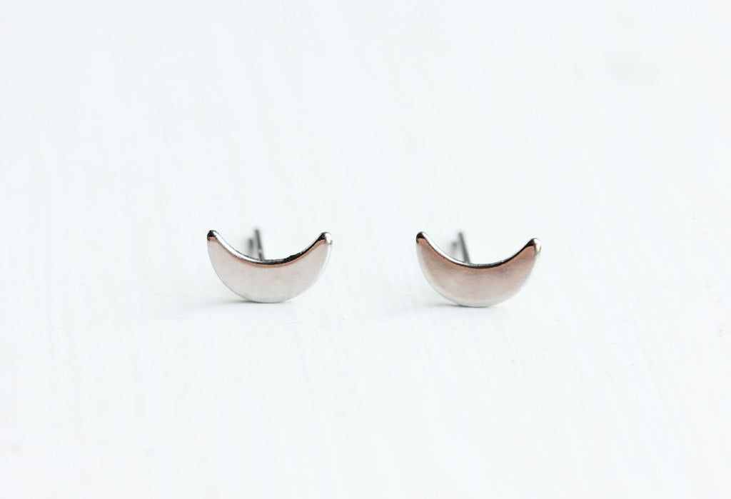 Diament Jewelry - Silver Moon Studs - KINDRED-the boheme collective