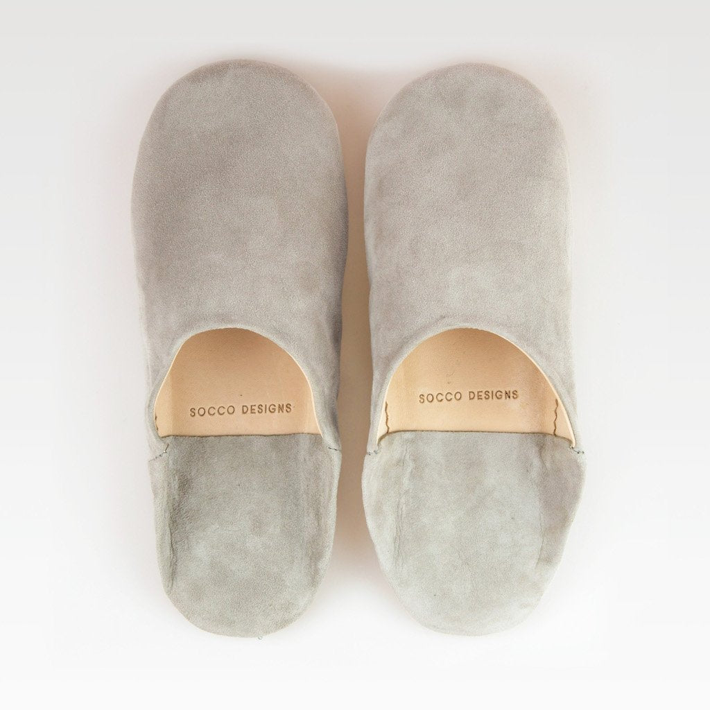 Suede Slippers, Light Grey - KINDRED-the boheme collective