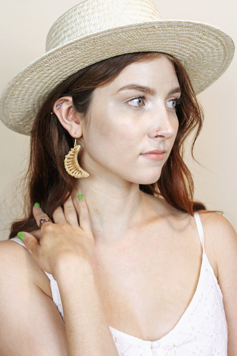 Crescent Moon Rattan Earrings