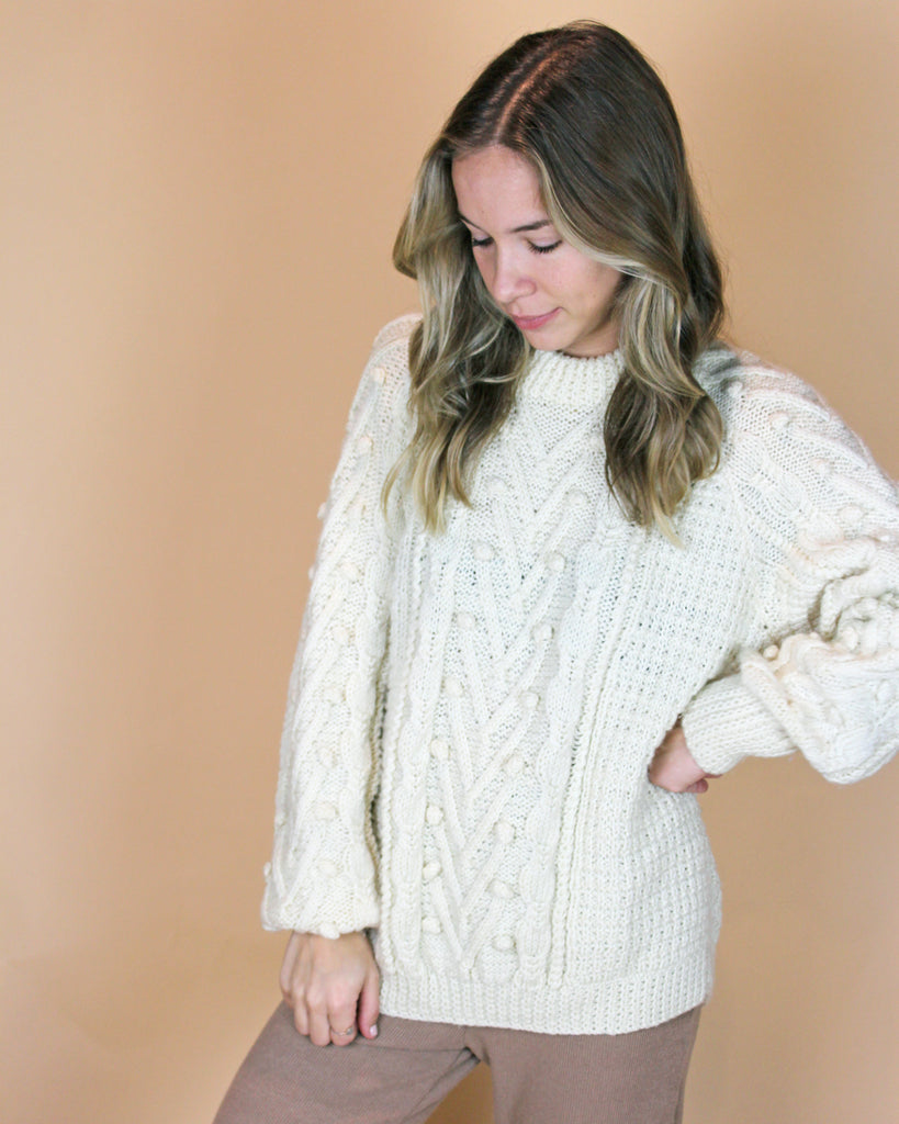 Vintage Cable Snowball Sweater - KINDRED-the boheme collective