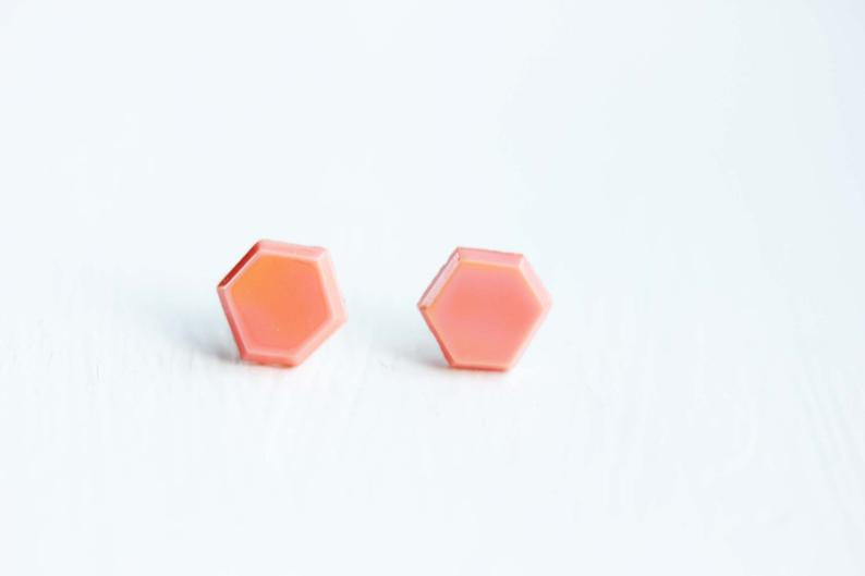Diament Jewelry - Coral Hexagon Studs - KINDRED-the boheme collective