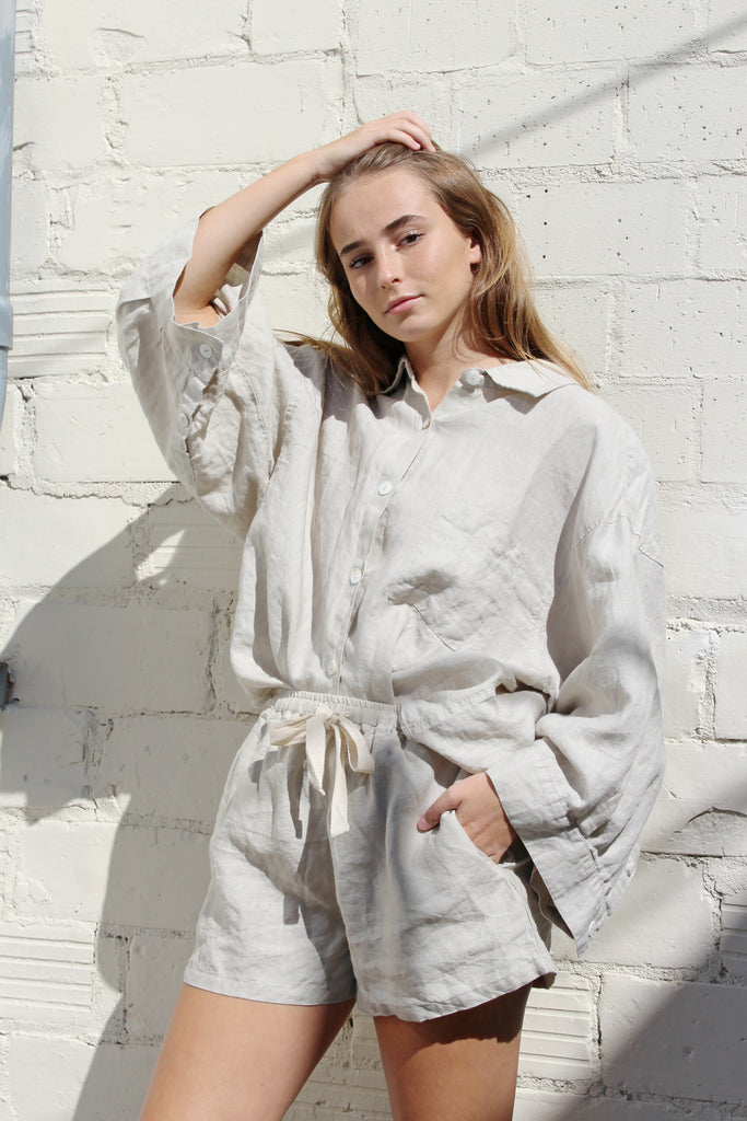 Carrie Linen Sleepwear Set - Dove