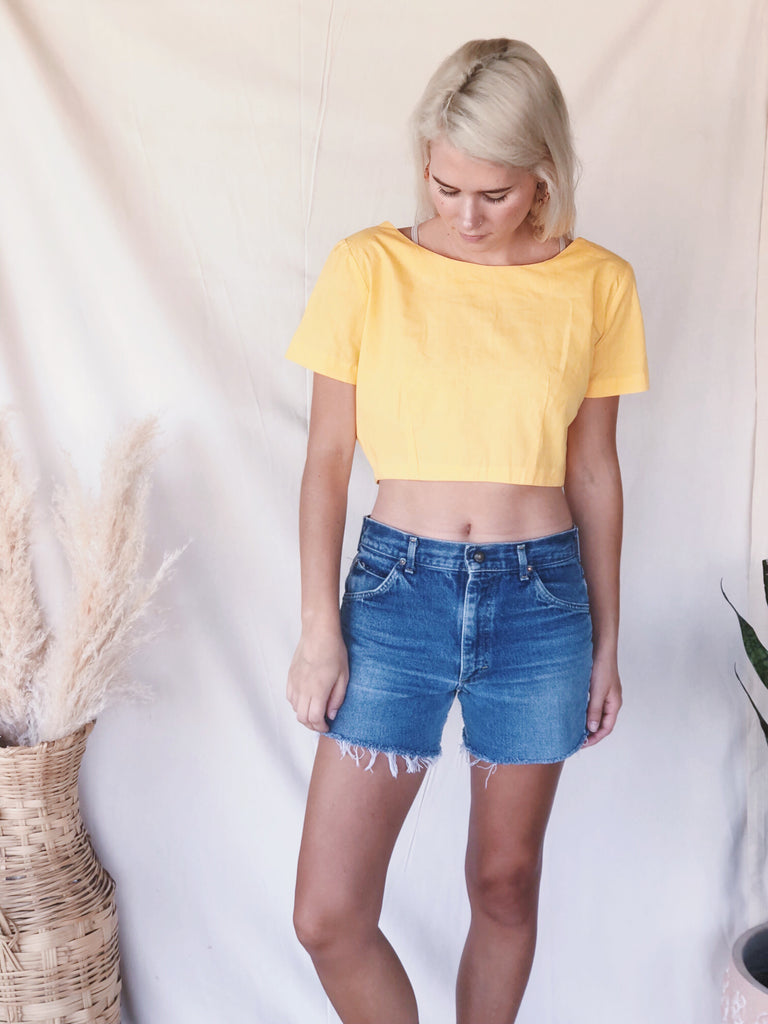 Vintage Yellow Crop Top - KINDRED-the boheme collective
