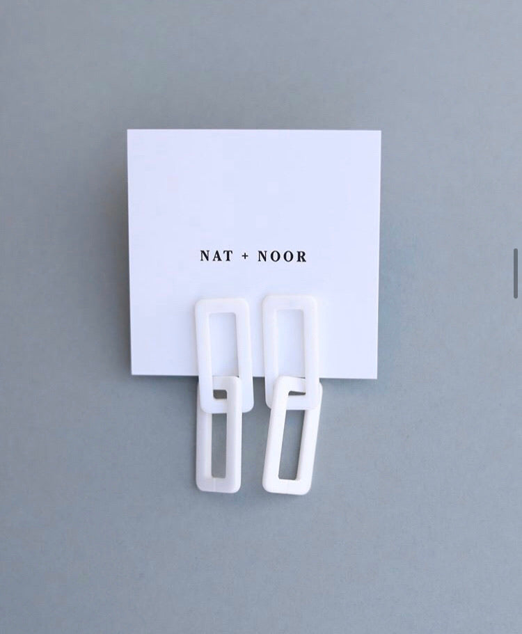 NAT + NOOR - White Link Earring - KINDRED-the boheme collective
