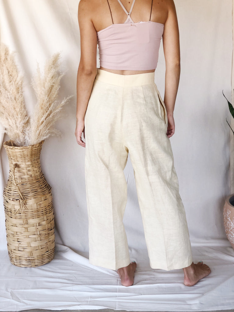 Vintage Pale Yellow Linen Pants - KINDRED-the boheme collective