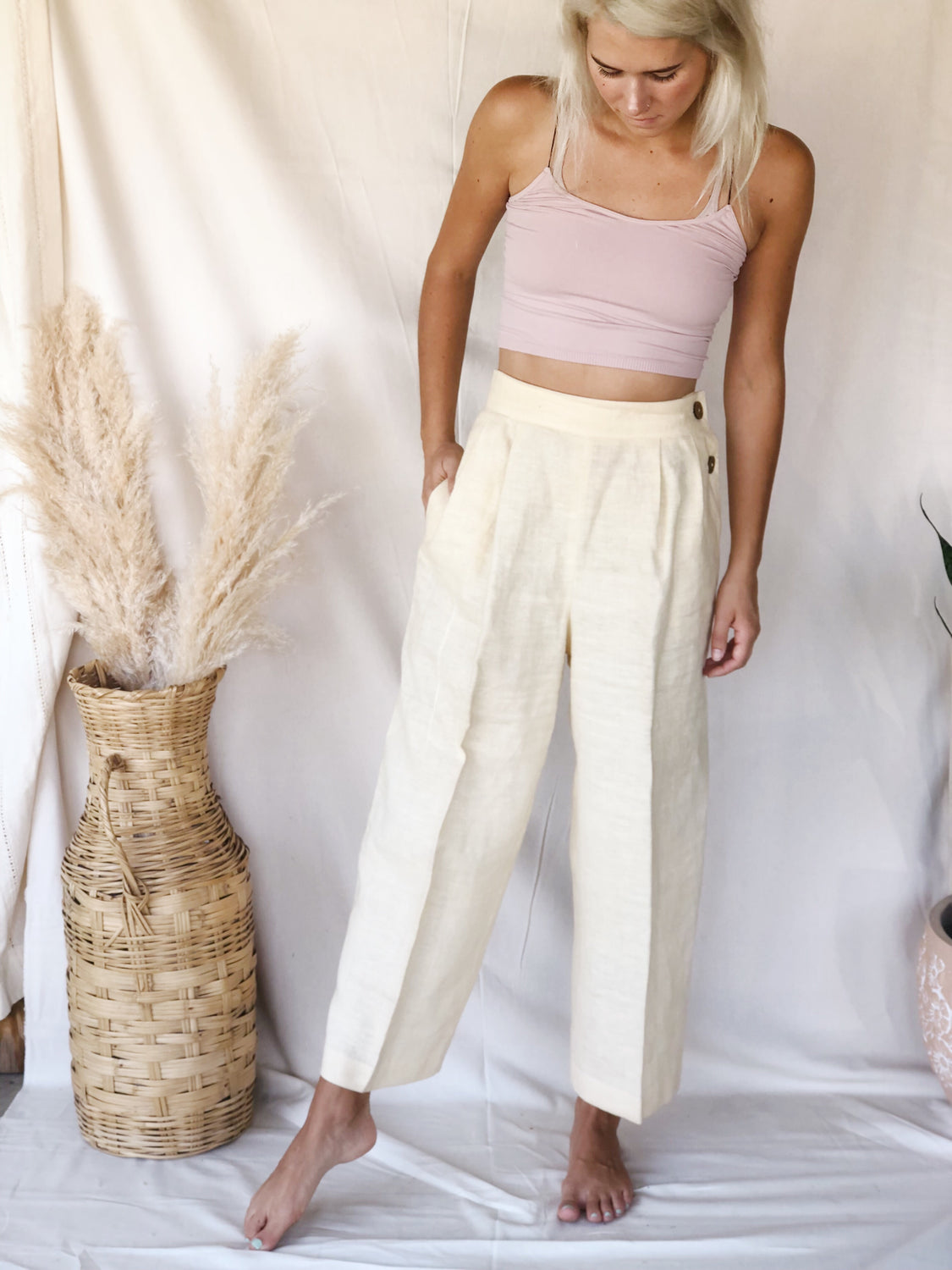 Vintage Pale Yellow Linen Pants