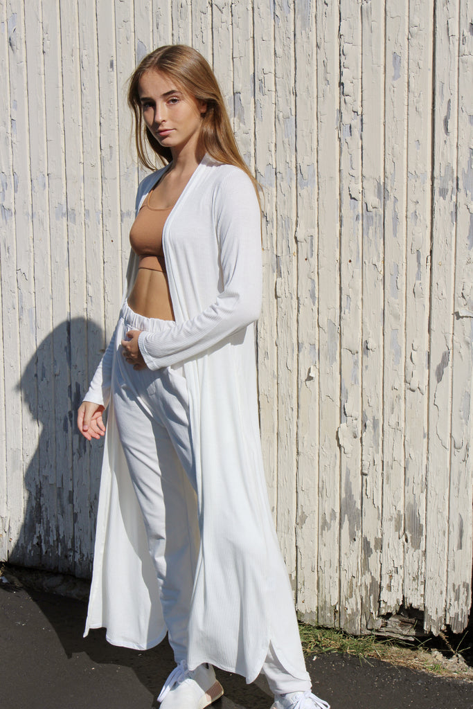 LADY/LAY - Off White Ribbed Robe