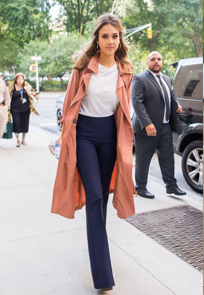 Jessica Alba looks polished in wide leg slacks and a tee