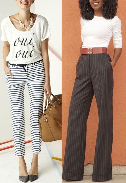 t-shirts with striped pants for the office