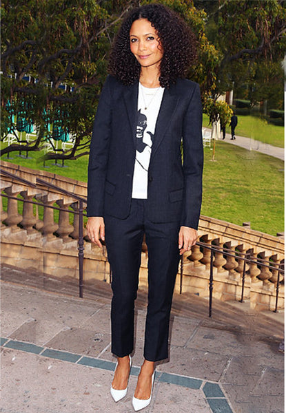 Thandie Newton pairs her suit with a graphic tee
