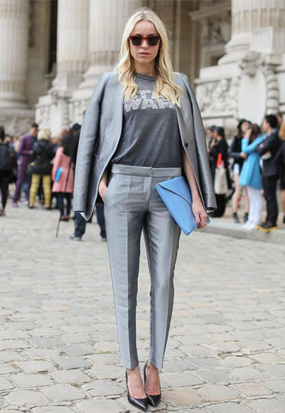 monochromatic suit and graphic tee