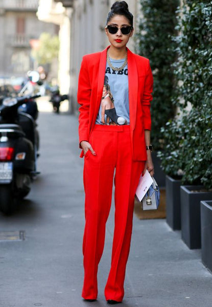 bold red suit with a graphic tee