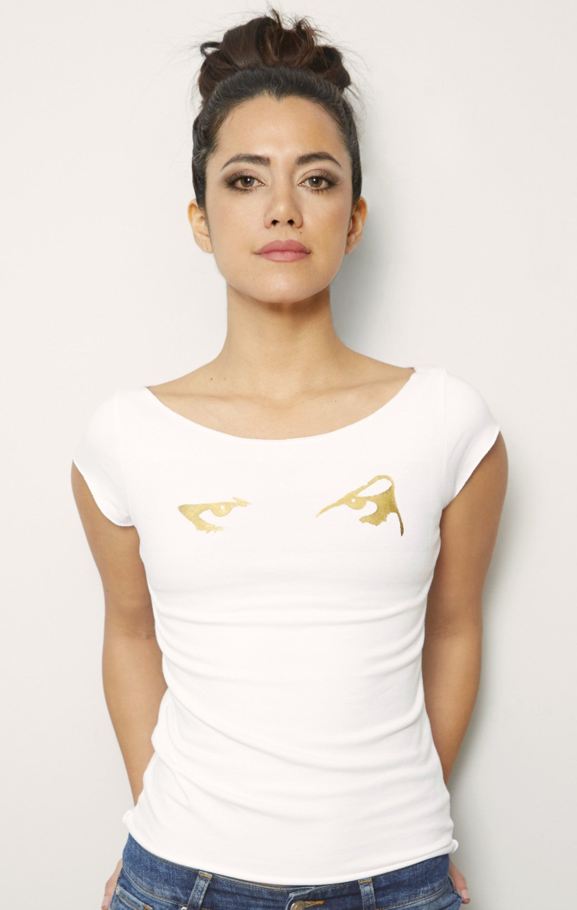 Gold Eyes Graphic Boatneck T-Shirt White