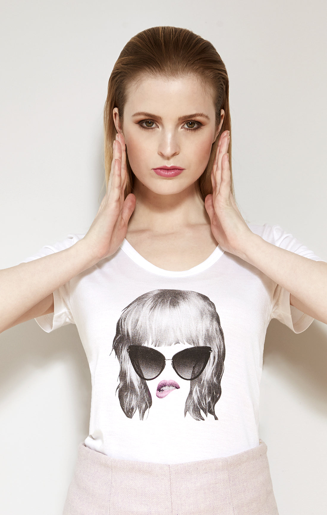 Pink Lipped Collage Girl Graphic Tee Shirt