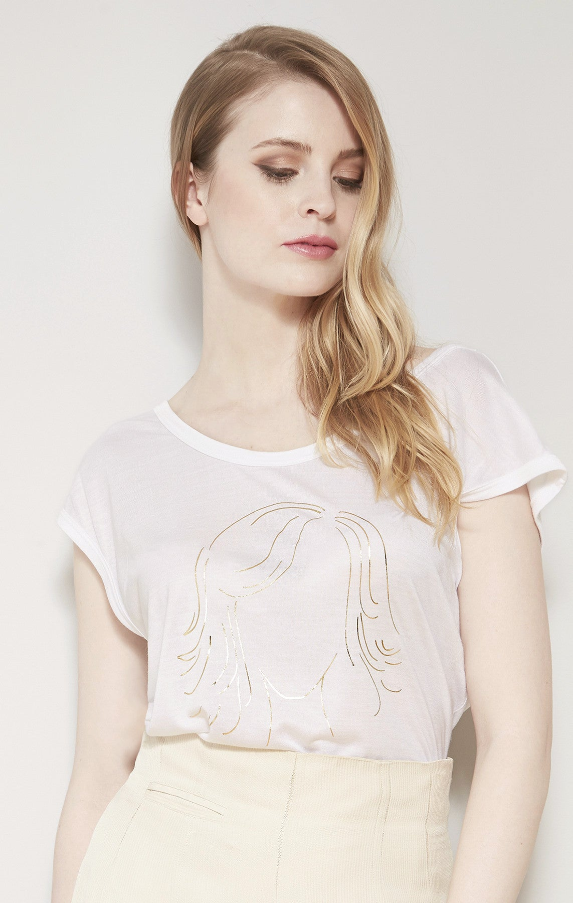 Gold Faceless Girl Graphic T-Shirt White