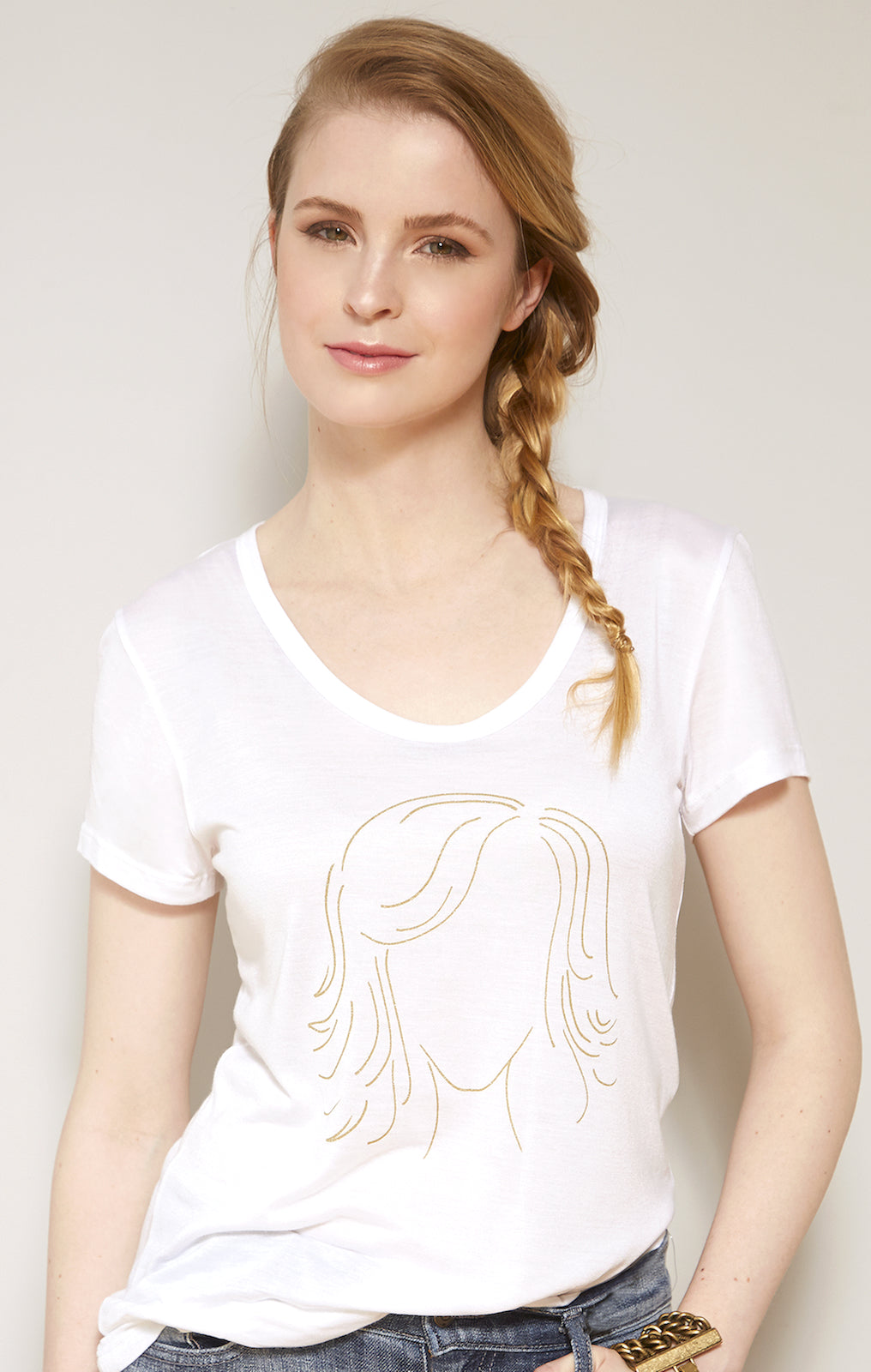 Girl Outline Graphic Perfect Tee White