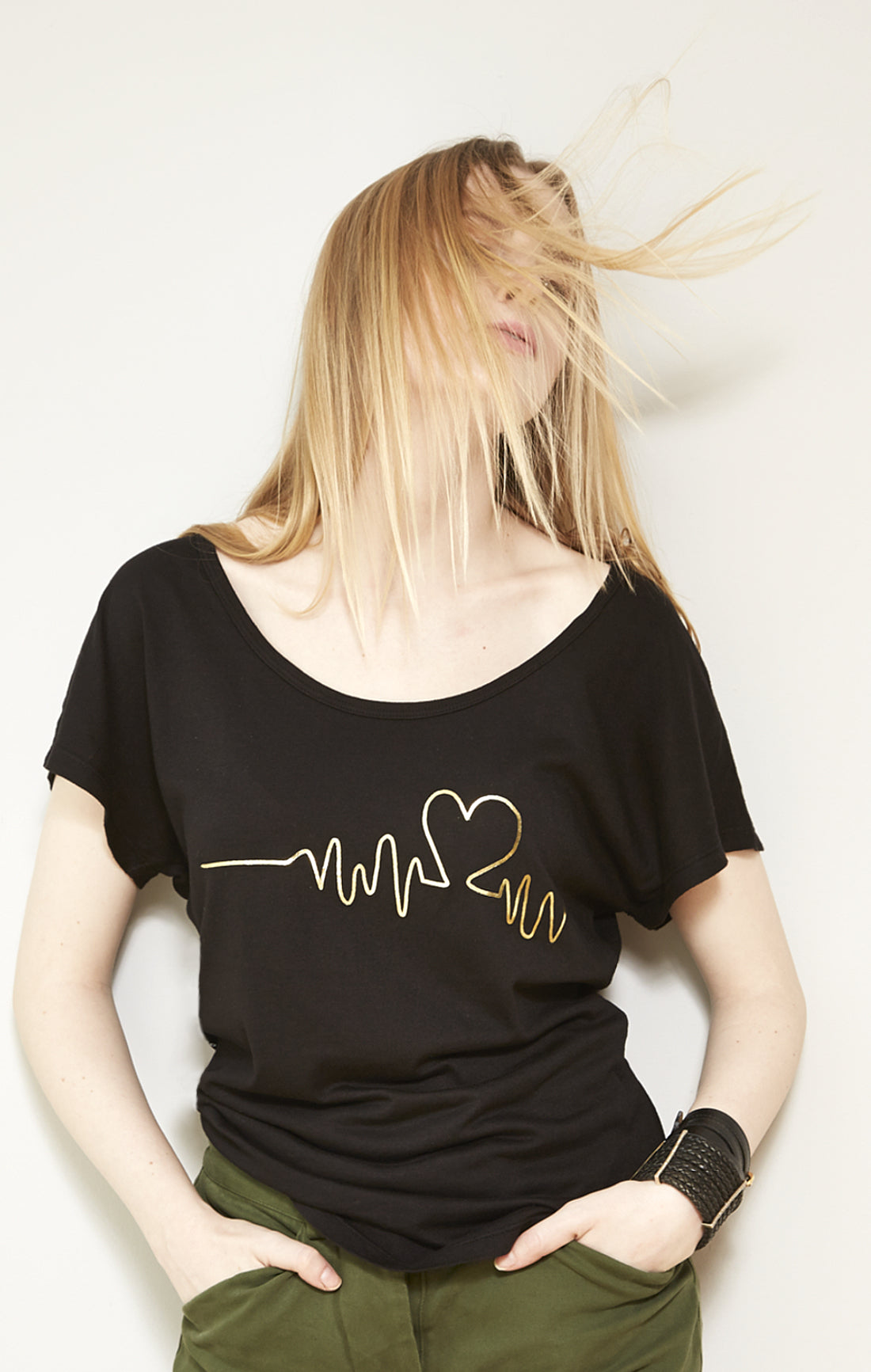 Gold Heart Beat Graphic Wide Scoopneck Tee