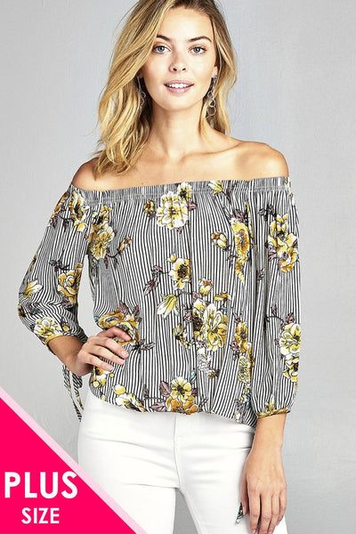 plus size off the shoulder woven top