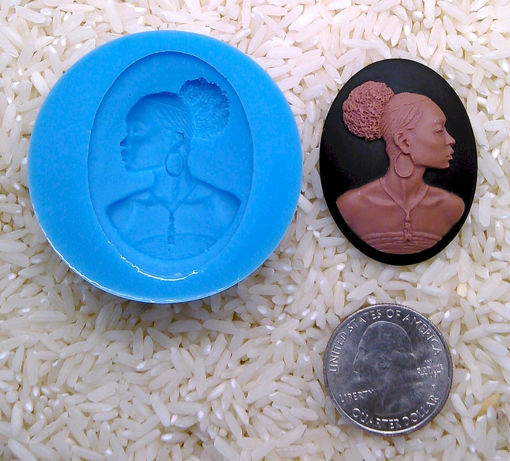 Food Safe Silicone Mold Black African American Woman for candy soap clay resin wax etc.