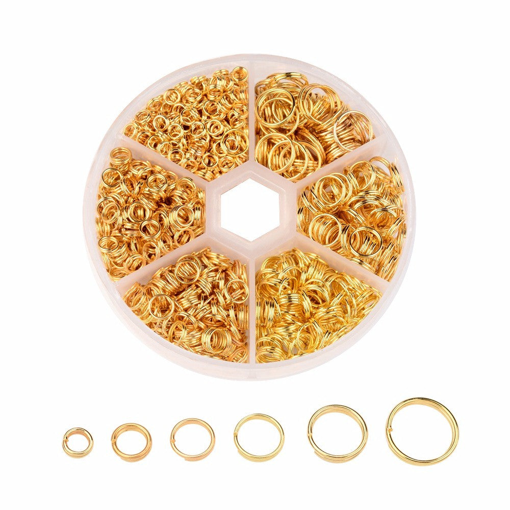 1745pcs Mixed Gold Jump Rings 4-10mm Jewelry Connector Jewelry Findings 100z